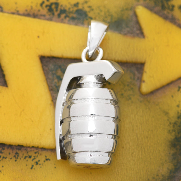 Grenade Explosives Pendant 18K White Gold Finish