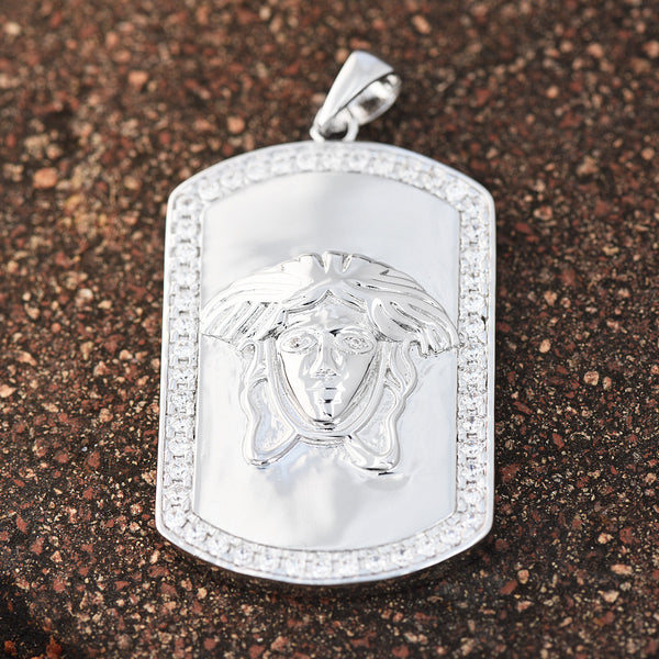 Medusa Dog Tag Pendant Lab Diamonds 18K White Gold Finish