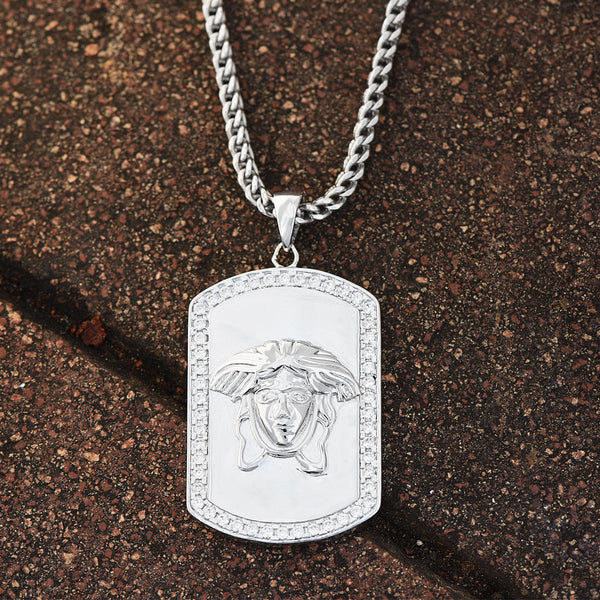 Medusa Face Dog Tag Pendant 18K White Gold Finish Franco Necklace Lab Diamonds