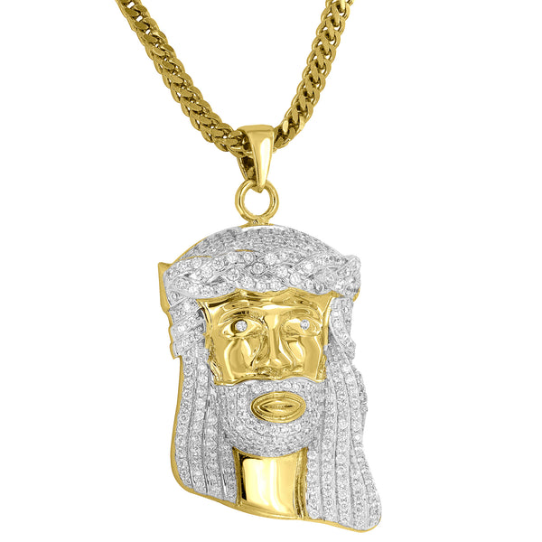 Iced Out Jesus Face Pendant 18K Gold Finish Free Stainless Steel Necklace