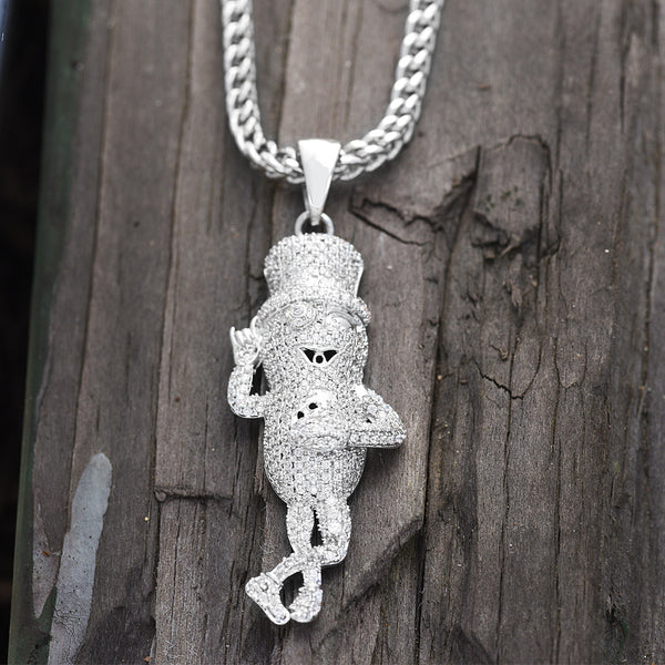 Mr. Peanut Pendant 18K White Gold Finish Franco Chain Lab Diamond