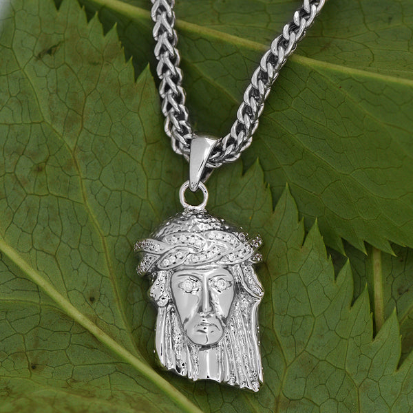 Mens Jesus Pendant 18K White Gold Finish Lab Diamond Franco Necklace
