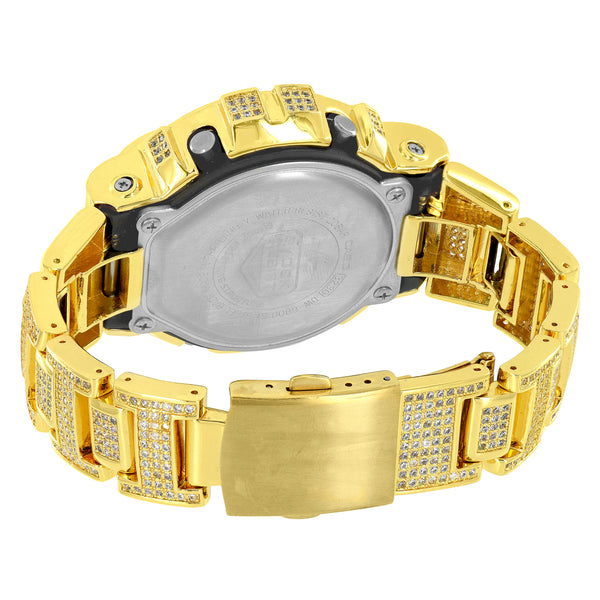 Gold Tone G Shock Watch Iced Out Simulated Diamonds DW6900 Mens