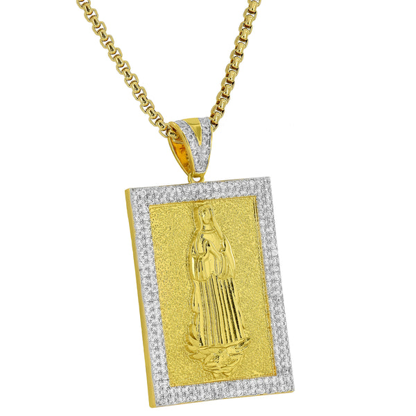 Mother Mary Pendant 18K Yellow Gold Pendant Brushed Finish