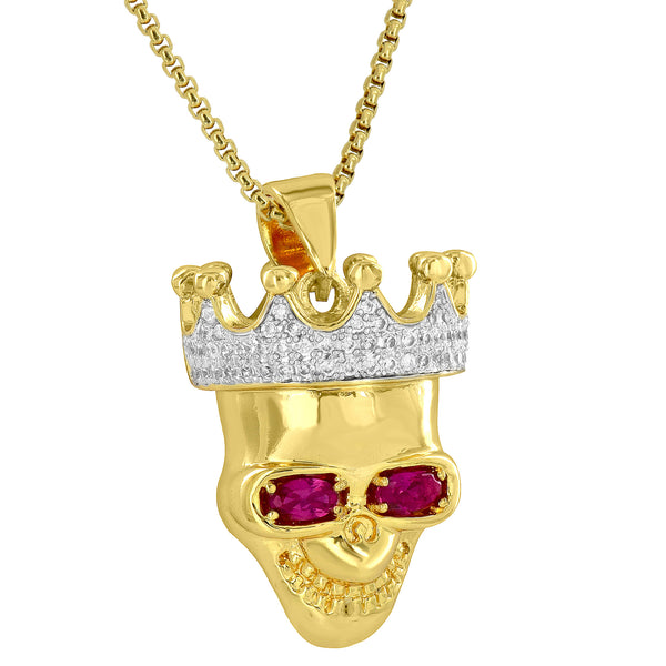 Skull Head Crown Pendant Solitaire Ruby CZ Stones 18K Gold Finish