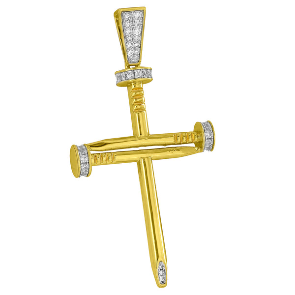 Nail Cross Pendant Jesus Crucifix Stainless Steel Box Chain 18K Gold Plate 2.5