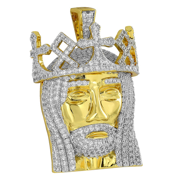 Jesus Christ Pendant 18K Gold Plate Simulated Diamonds Crown Charm
