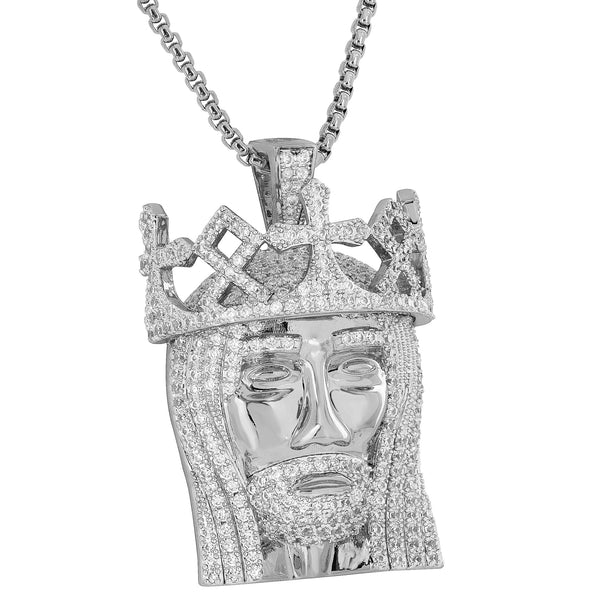 Jesus Face Pendant Simulated Diamonds Rhodium Plate Christ Charm Necklace