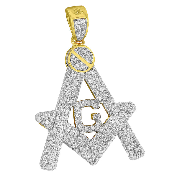 Masonic G Pendant Freemason Charm Iced Out Simulated Diamond Pave Set