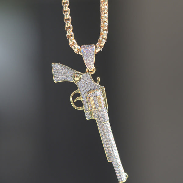 18K Layered Iced Lab Diamond Gun Charm Necklace