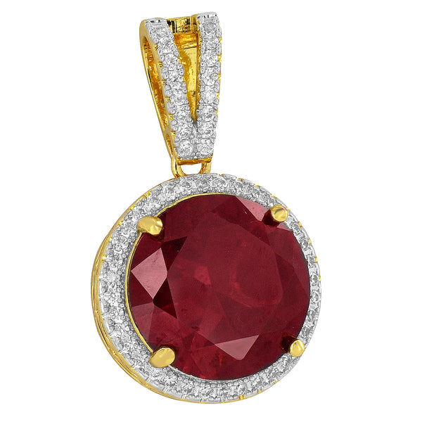 Solitaire Ruby CZ Pendant Solitaire Charm Red Round Cut 18K Gold Plate