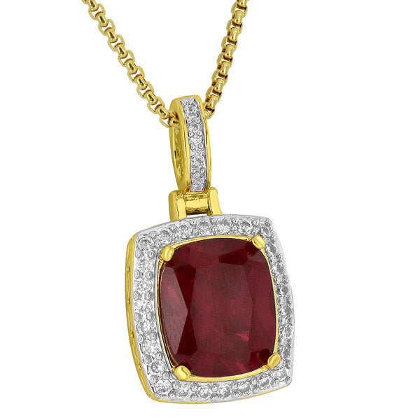 Red Simulated Ruby CZ Pendant 18K Gold Plate Stainless Steel Chain