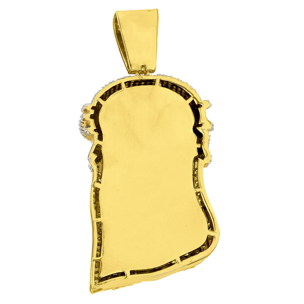 Jesus Christ Pendant Solid Back Gold Plate Box Necklace Simulated Diamonds