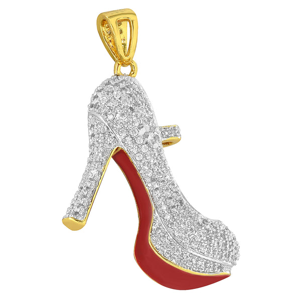 High Heels Pumps Pendant Ladies Shoes Simulated Diamonds Red Base Free Necklace