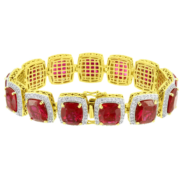 Ruby CZ Solitaire Bracelet 18K Gold Plated Mens 16 MM Custom Style Birdman New