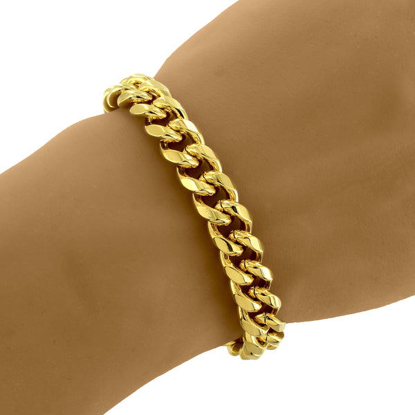 14k Gold Finish Men's Designer Miami Cuban 8.5 Inch Bracelet