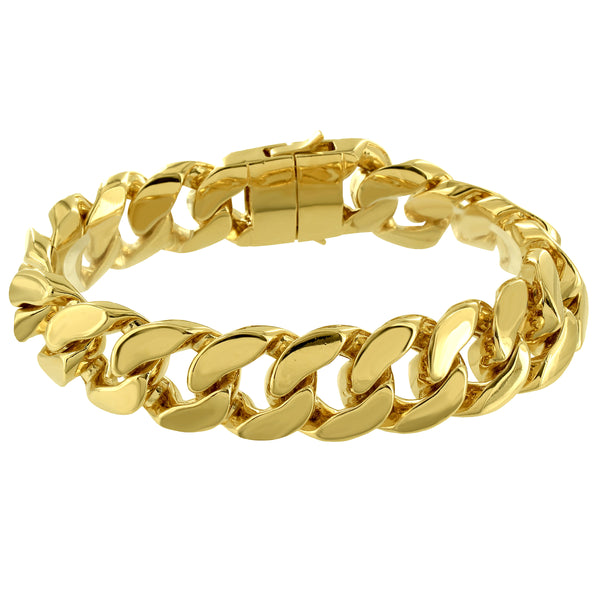 Miami Cuban Link Men's Heavy Bracelet with 14k Gold Finish