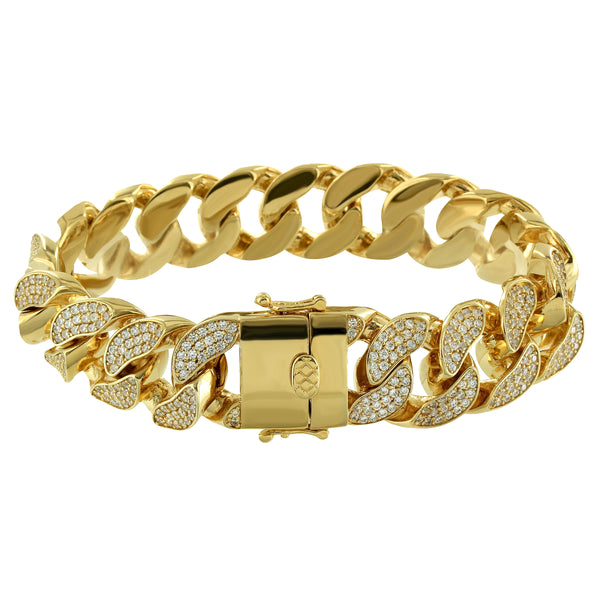 Men's Fully Iced out Lab Diamonds Designer Miami Cuban Bracelet 14k Gold Finish
