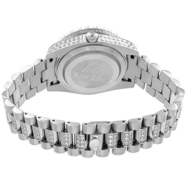 Stainless Steel Simulated Diamond Presidential Watch 41 MM PR-02
