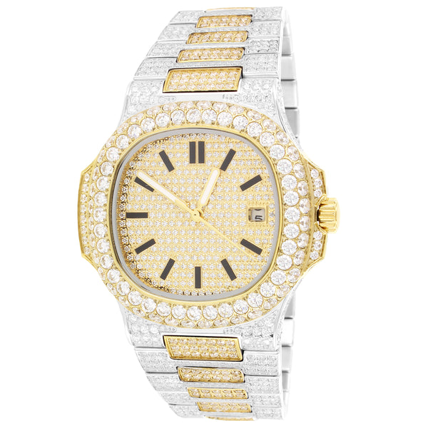 Stainless Steel Two Tone Solitaire Bezel Luxury Men's Watch