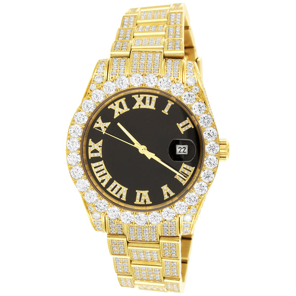 Steel 40mm Gold Solitaire Bezel Roman Dial Band Watch