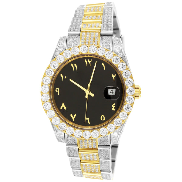 Two Tone Gold Men's Arabic Dial Solitaire Bezel Luxury Watch