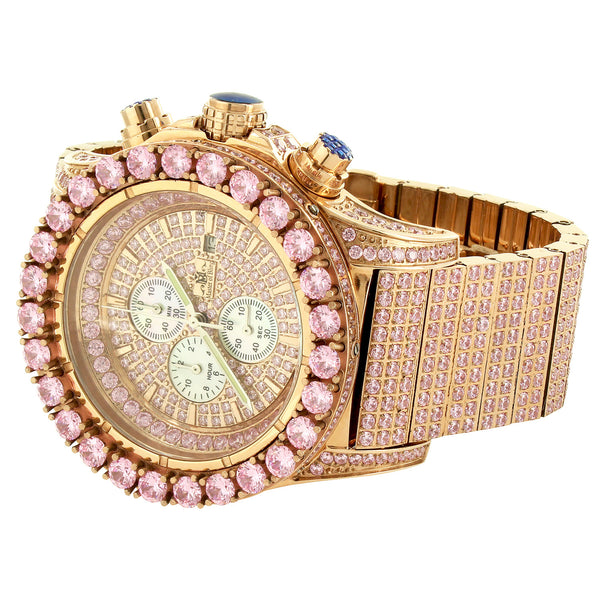Iced Out Stainless Steel Pink Watch 48mm Chronograph BR-01 Rose Gold Finish