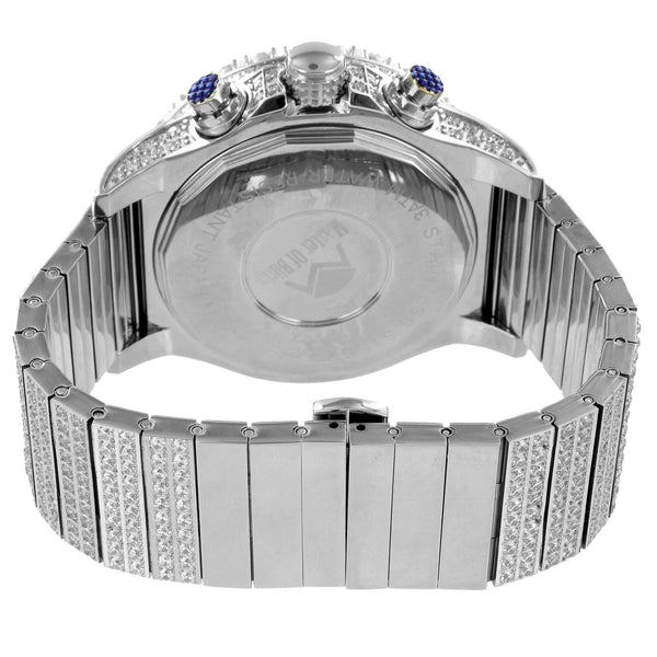 Mens Stainless Steel Solitaire Bezel Simulated Diamond Watch