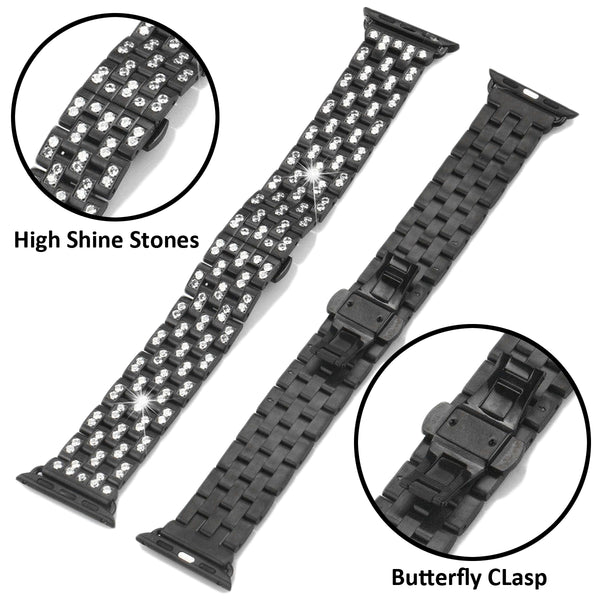 Black &White Iced Out 38mm Steel Apple Watch band