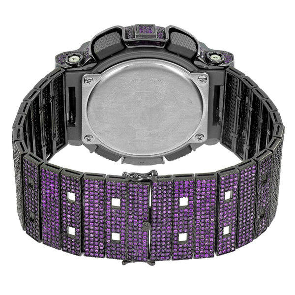 Custom G-Shock GD100A-7A Watch Analog Purple Simulated Diamonds Iced 52 MM