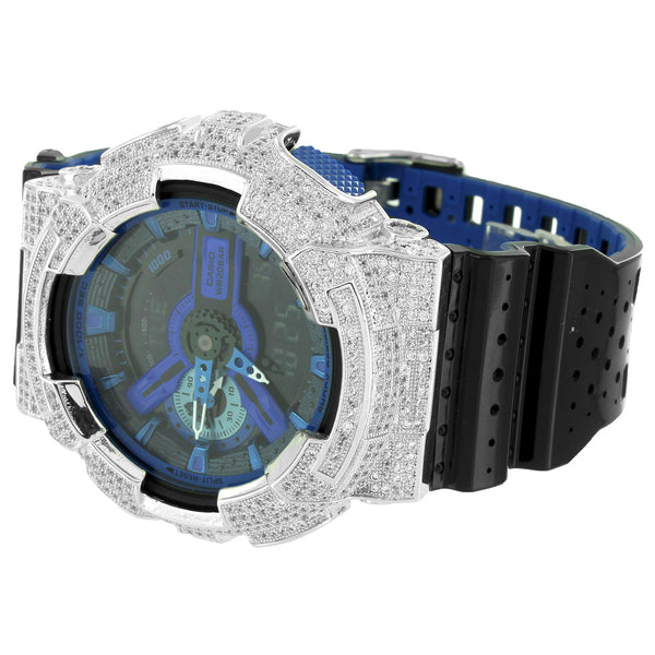GA110LPA-1A Performance Blue G-Shock Watch Ana-Digi Iced Out
