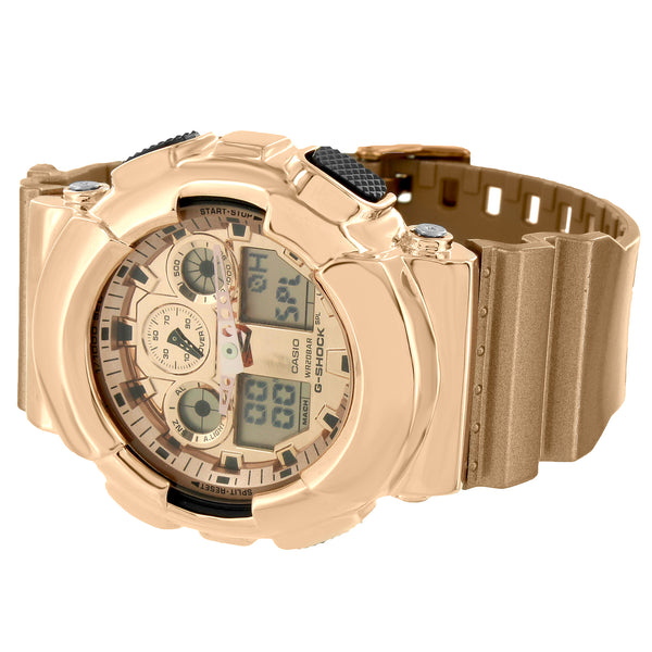 Rose Gold Tone G-Shock Ghock GA100GD-9A Watch Metallic Gold Resin Band Ana-Digi