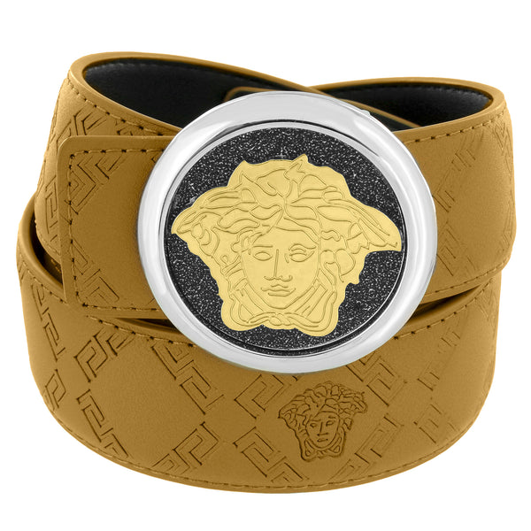 Medusa Face Buckle Gold Tone Brown Leather Belt 46