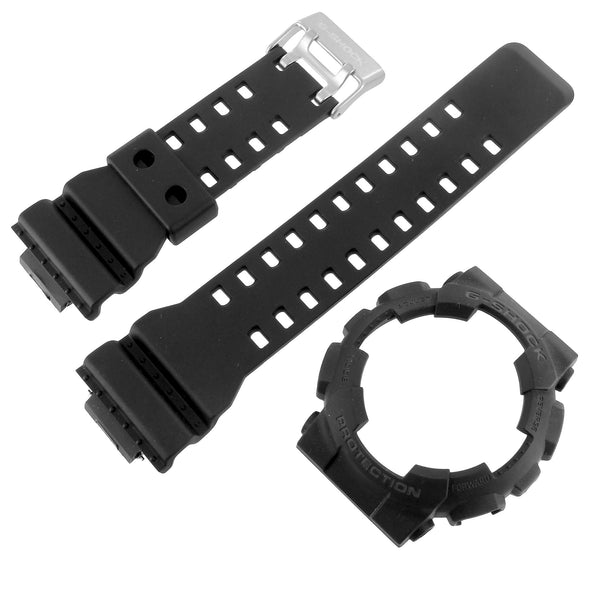 Black Bezel Matching Band For G Shock Watch GD100-1B Resin Silicone Strap