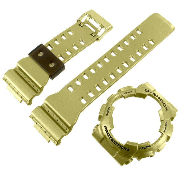 Metallic Gold Tone Bezel Band For G-Shock Watch GA110GD-9A Resin Silicone