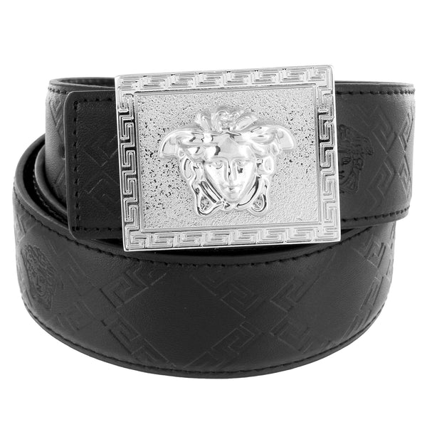 Square Greek Medusa Buckle Silver Tone Greek Black Leather Belt