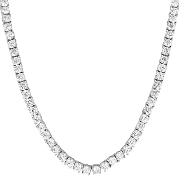 3mm 14k White Gold Finish Silver Tennis Necklace 18-30