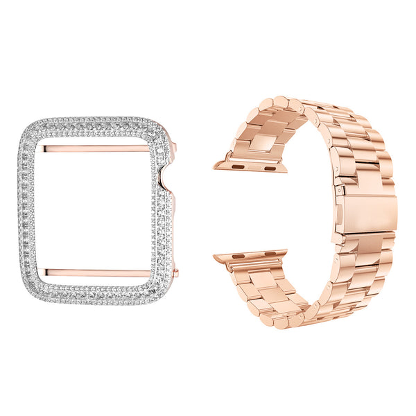 Stainless Steel 14k Rose Gold Finish 42mm Band with Sterling Silver Iced Out Bezel Apple Watch