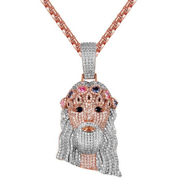 Two Tone Rose King Holy Jesus Face Pear Cut Crown 3D Pendant