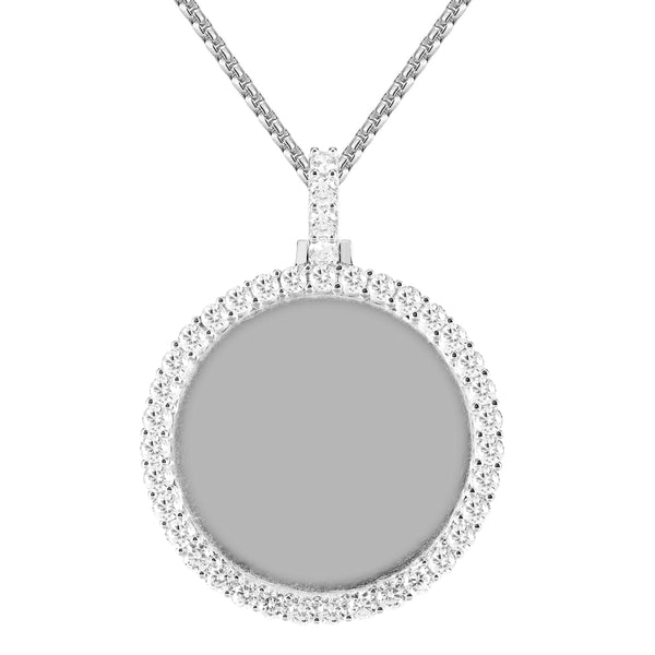 Silver One Row Circle Solitaire Prong Picture Gift Icy Pendant