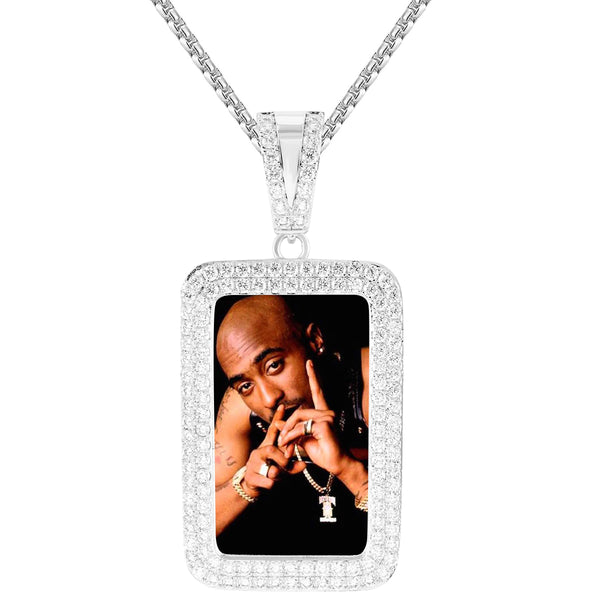 Men's Picture Dogtag Photo Holder Custom Pendant Chain