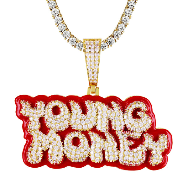 Gold Tone Young Money Custom Red Enamel Icy Pendant