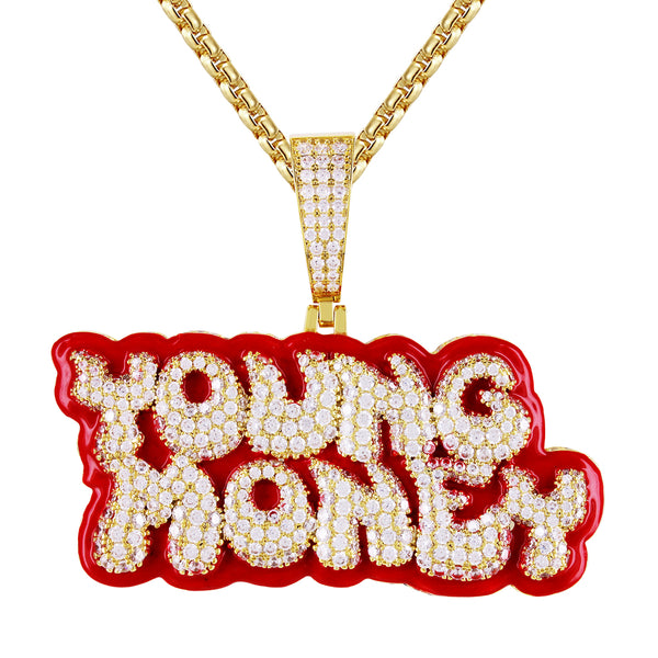 young money, enamel, iced out, 3D, custom chain