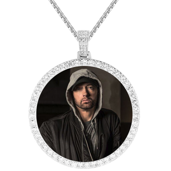 Men's IcedOut Round Picture Holder Custom Memory Pendant