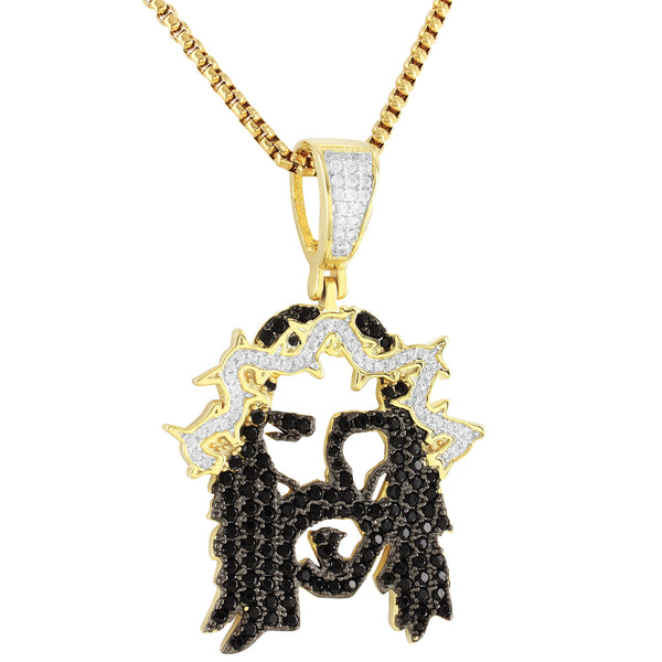 Black & White Jesus Face Custom Religious Pendant Chain