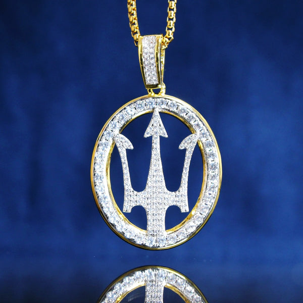 Hip Hop Luxury Car Logo  Round Pendant Free Chain