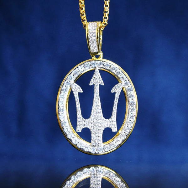 Hip Hop Luxury Car Logo Iced Out Round Pendant Free Chain