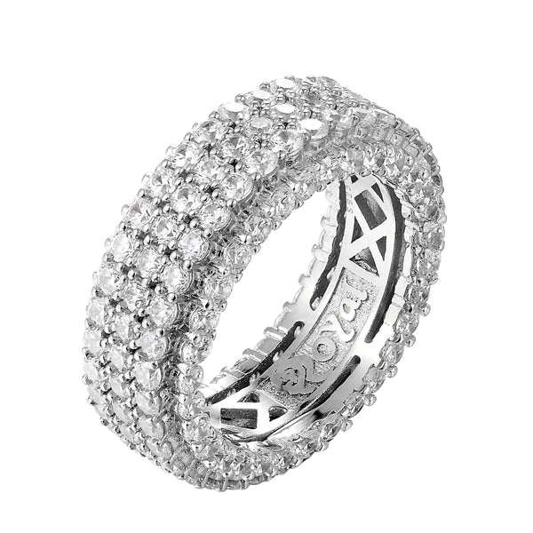 Sterling Silver 3 Row Solitaire Iced Out Men's Band