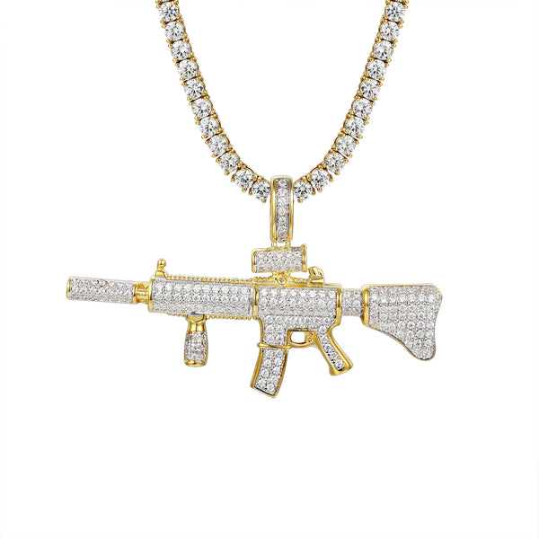 Ak-47 Assault Gun Rifle Iced-out Pendant 24