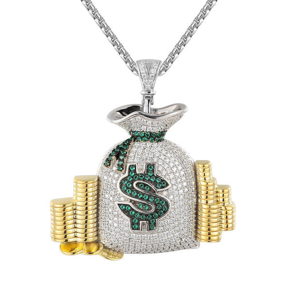 Money Bag Stack  Cash Coins Pendant Necklace